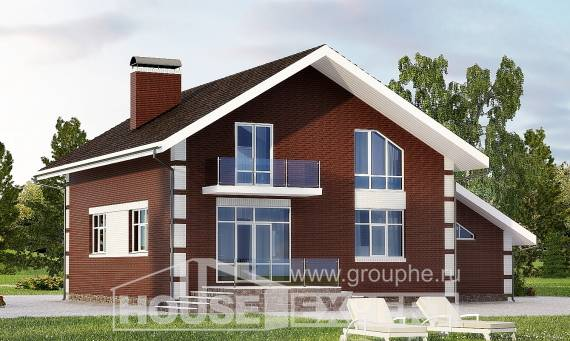 180-001-L Two Story House Plans and mansard with garage, small Architects House, House Expert