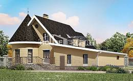 250-001-L Two Story House Plans with mansard roof with garage in back, a simple Home House,