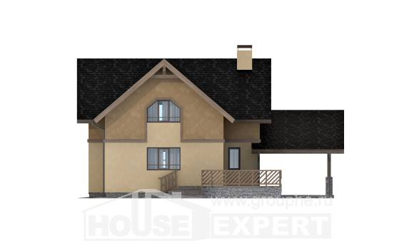 150-011-L Two Story House Plans with mansard roof with garage in back, modest House Building,