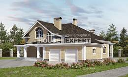 290-001-R Two Story House Plans with mansard with garage under, cozy Design Blueprints, House Expert