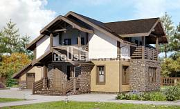 180-011-L Two Story House Plans with mansard and garage, cozy Architect Plans,