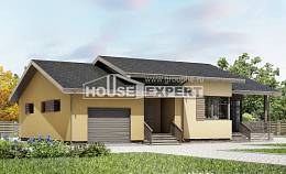 135-002-L One Story House Plans with garage under, best house Architectural Plans