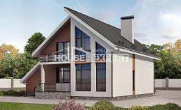 200-007-R Two Story House Plans with mansard roof with garage in front, classic Woodhouses Plans, House Expert