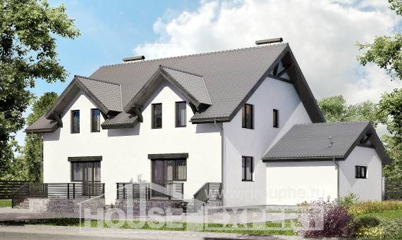 290-003-R Two Story House Plans with mansard and garage, modern House Blueprints,