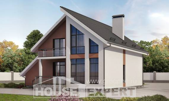 200-007-R Two Story House Plans with mansard and garage, a simple Design Blueprints
