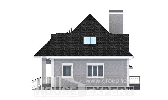 135-001-L Two Story House Plans and mansard with garage in back, modest Ranch,