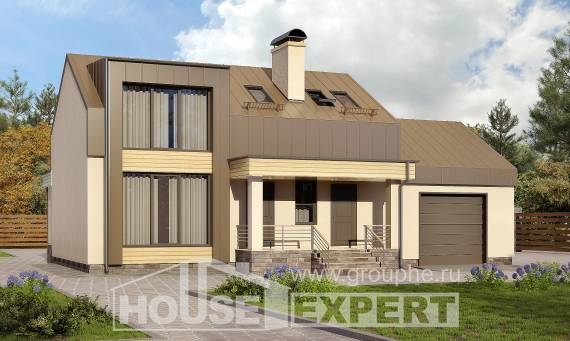150-015-L Two Story House Plans and mansard with garage in front, available Blueprints,