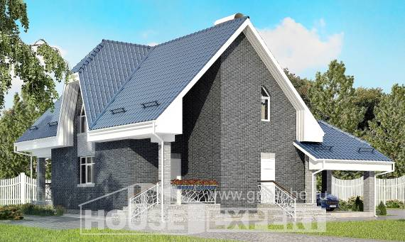125-002-L Two Story House Plans and mansard with garage under, small Custom Home,