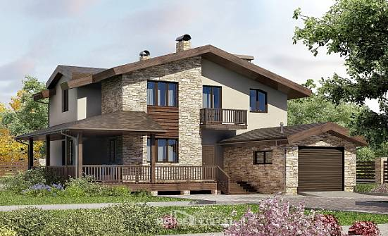 220-001-L Two Story House Plans with mansard with garage in front, a simple Plans Free,