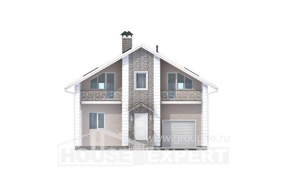 150-002-R Two Story House Plans with mansard and garage, inexpensive Design Blueprints,
