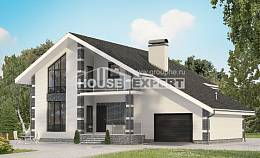 180-001-R Two Story House Plans with mansard with garage under, the budget House Blueprints,