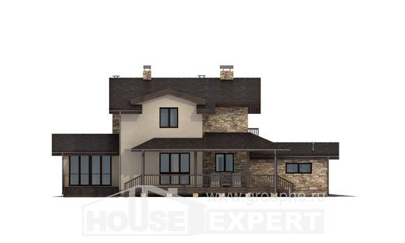 220-001-L Two Story House Plans and mansard with garage in back, spacious House Plan