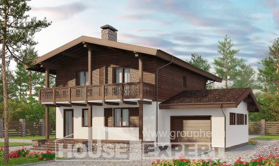180-018-L Two Story House Plans and mansard with garage, small Home Plans, House Expert