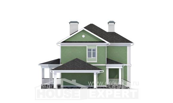 170-001-L Two Story House Plans with garage in back, inexpensive Models Plans