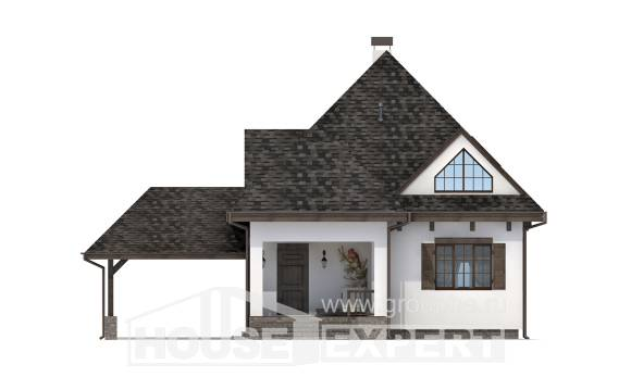 110-002-L Two Story House Plans with mansard with garage, cozy Floor Plan,