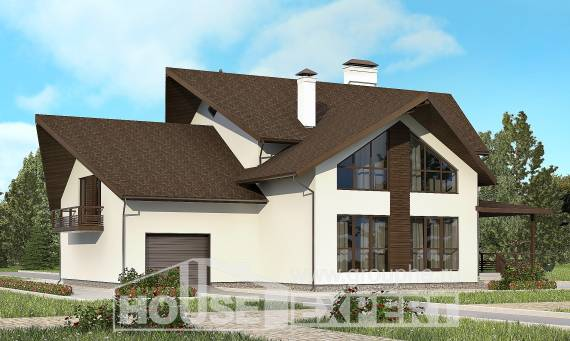 300-002-R Two Story House Plans with mansard and garage, spacious Custom Home,