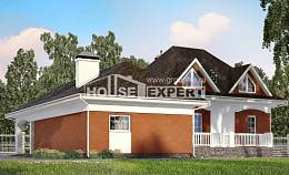 180-007-R Two Story House Plans with mansard with garage, inexpensive Design House