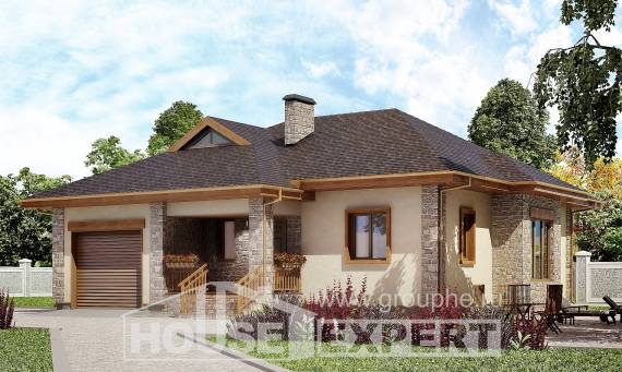 130-006-L One Story House Plans with garage under, the budget Planning And Design,