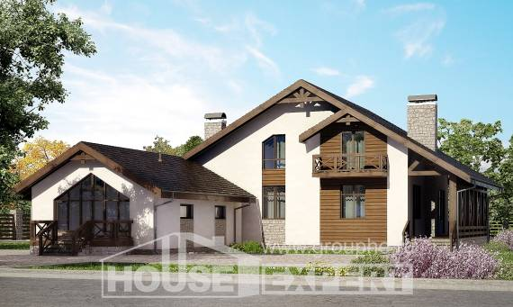 265-001-R Two Story House Plans and mansard with garage in front, modern Blueprints of House Plans