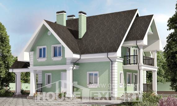 140-003-L Two Story House Plans with mansard and garage, classic House Building, House Expert