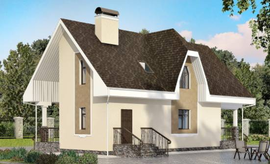 125-001-L Two Story House Plans with mansard roof, economical Woodhouses Plans, House Expert