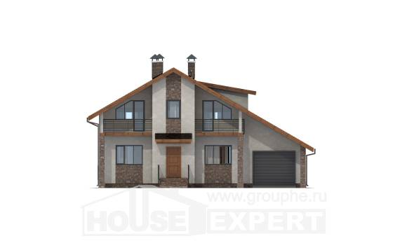 180-008-R Two Story House Plans and mansard with garage, a simple House Plans,