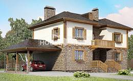 155-006-L Two Story House Plans with garage under, economical Villa Plan, House Expert