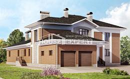 520-002-L Three Story House Plans and garage, luxury Plan Online