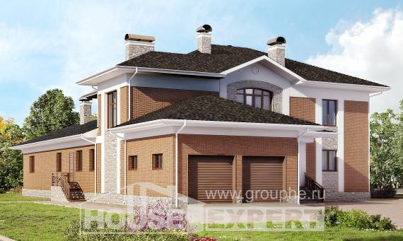 520-002-L Three Story House Plans with garage in back, big Drawing House, House Expert