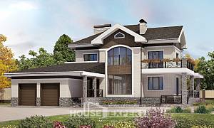 365-001-L Two Story House Plans with garage under, classic Floor Plan