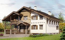 400-004-R Three Story House Plans with mansard with garage under, a huge Home Plans,