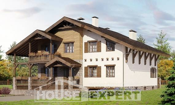 400-004-R Three Story House Plans with mansard with garage under, modern Blueprints