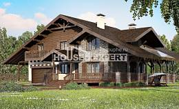 320-001-R Two Story House Plans with mansard with garage in front, big Woodhouses Plans,