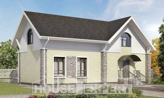150-012-R Two Story House Plans with mansard, compact Design Blueprints,