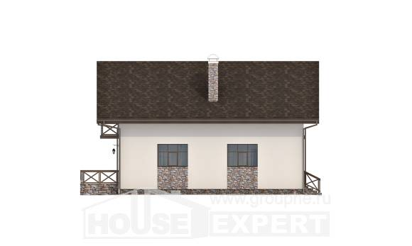 155-001-R Two Story House Plans and mansard and garage, economical Villa Plan, House Expert