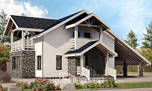 155-010-R Two Story House Plans with mansard roof with garage in back, cozy Ranch