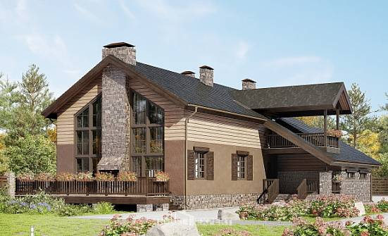 240-002-R Two Story House Plans with mansard roof with garage in back, classic Timber Frame Houses Plans,