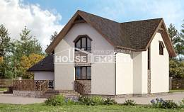 180-013-R Two Story House Plans and mansard with garage in back, the budget Home House,