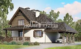 160-002-L Two Story House Plans with mansard roof with garage in front, small Home House,