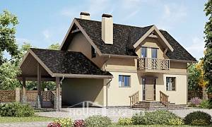 150-011-L Two Story House Plans with mansard with garage in front, small House Building