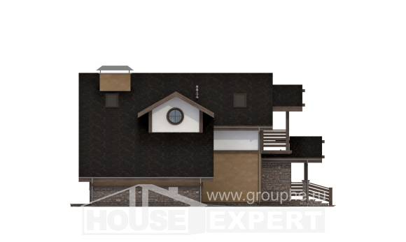 180-011-L Two Story House Plans with mansard with garage under, spacious Architectural Plans,