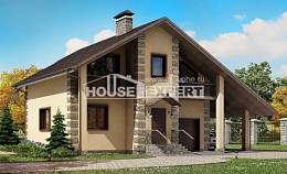 150-003-R Two Story House Plans with garage under, classic Building Plan, House Expert