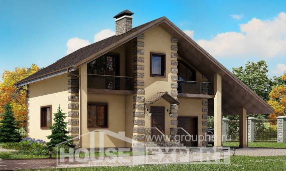 150-003-R Two Story House Plans with garage in back, classic Design Blueprints,