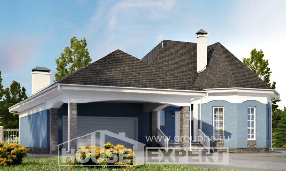 180-007-L Two Story House Plans and mansard with garage, economical Building Plan,