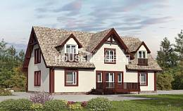 300-008-L Two Story House Plans with mansard roof and garage, modern Ranch,
