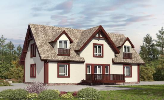 300-008-L Two Story House Plans and mansard with garage in back, spacious Plans To Build,
