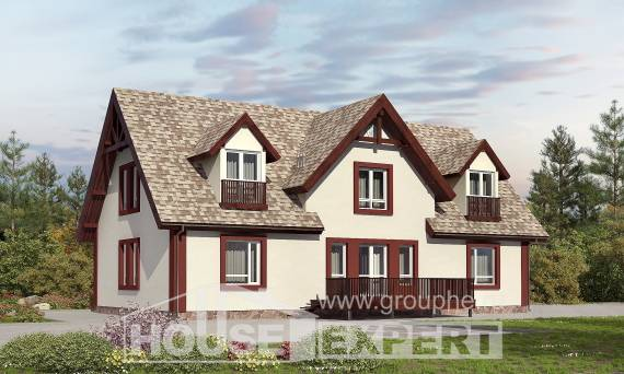 300-008-L Two Story House Plans with mansard roof with garage under, beautiful Models Plans