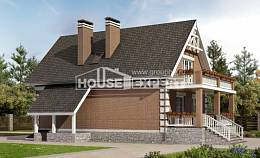 200-009-L Three Story House Plans and mansard with garage under, cozy Ranch