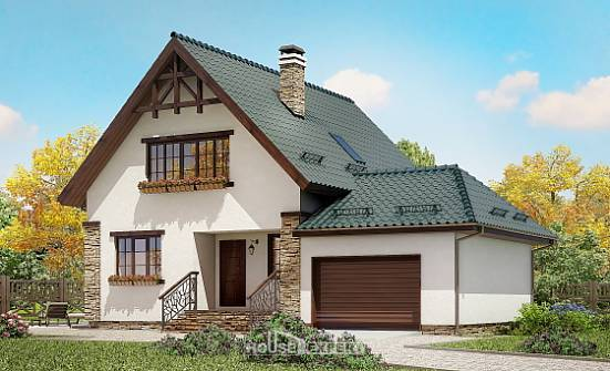 160-005-R Two Story House Plans with garage in back, modest House Blueprints,