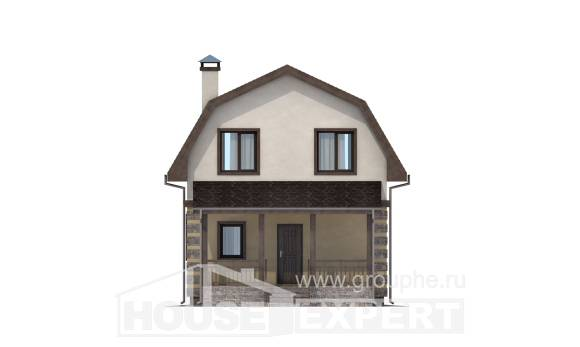 070-004-R Two Story House Plans with mansard, modern Building Plan,